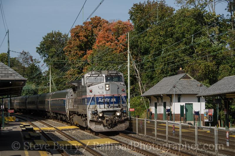 Photo 2489<br /> Amtrak; Merion, Pennsylvania<br /> October 14, 2012