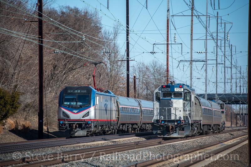 Photo 4547<br /> Amtrak<br /> Newark, Delaware<br /> January 25, 2018