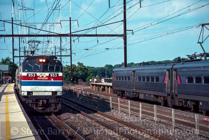 Photo 2712<br /> Amtrak and NJ Transit; New Brunswick, New Jersey<br /> August 1988