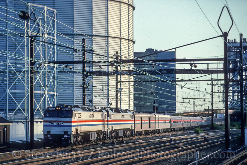 Photo 5093<br /> Amtrak<br /> Harrison, New Jersey<br /> May 1993