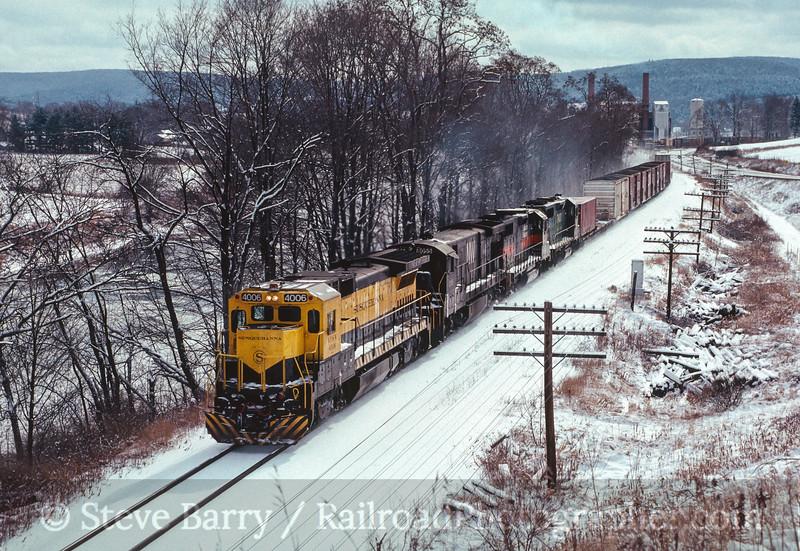 Photo 2705<br /> New York, Susquehanna & Western (on D&H); Bainbridge, New York<br /> February 1989