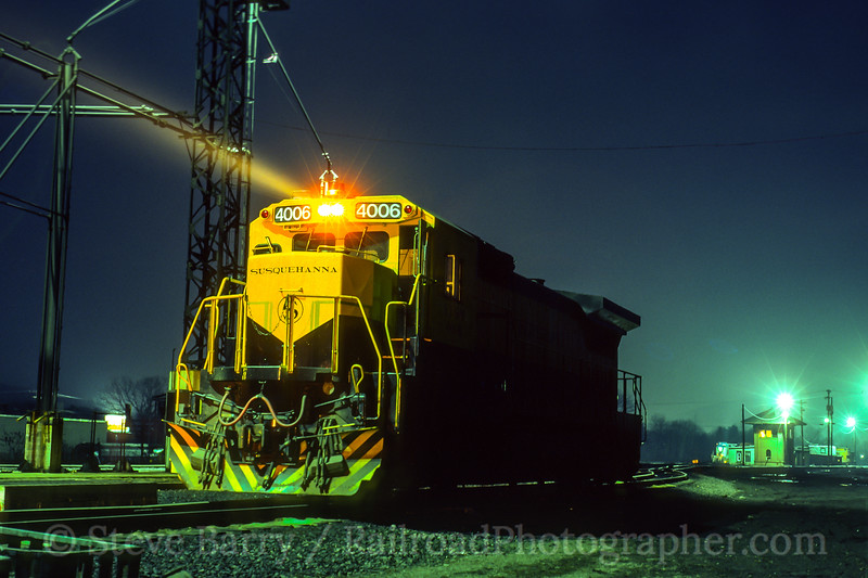 Photo 5371<br /> New York, Susquehanna & Western<br /> Conklin Yard, Conklin, New York<br /> March 1990