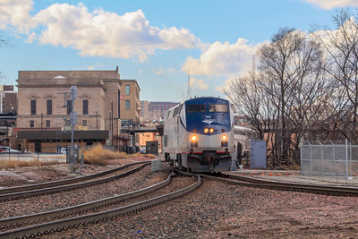 Amtrak #6 swings onto the Union Pacific railroad for its detour.