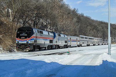 Amtrak Heritage unit #130 leads a very late California Zephyr from Omaha, NE towards Chicago, IL.