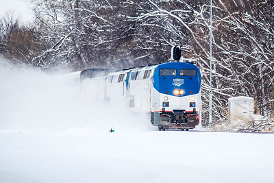 Amtrak #62 leads a very late California Zephyr through the snow in Ralson, NE towards the next stop at Omaha.