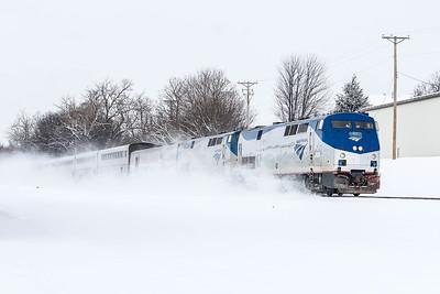 Amtrak #62 dashing through the snow with the California Zephyr towards Omaha, NE.