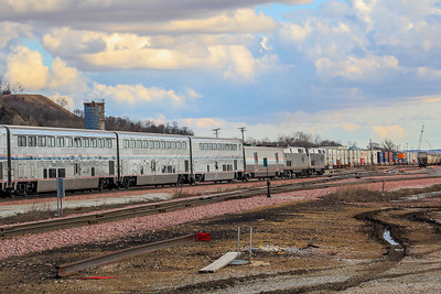 Amtrak #6 slowly makes it way through the BNSF yard in Council Bluffs, IA.