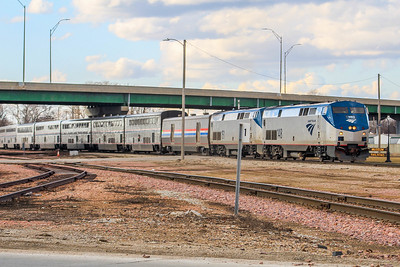 Amtrak #6 approaches the old Rock Island station in Council Bluffs, IA.
