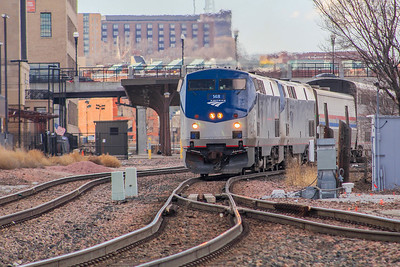 Amtrak #6 begins it detour due to flooding on its normal route.