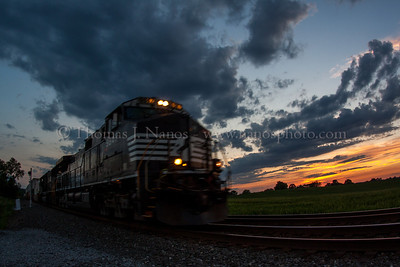 I02 Sunset Norfolk Southern train I02 rolls eastbound through Alburtus, PA just after sunset.