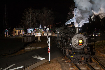 Now arriving at Santa's Vilage The Valley Railroad's highly popular North Pole Express trains have begun.  Here's one on 11/30/2012 pulling into Deep River, CT - otherwise known as the North Pole - to pick up Santa and his elves for the trip.  Three flashes iluminate the scene.