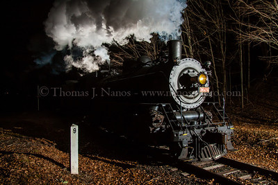 Shadows at Chester A Valley Railroad North Pole Express, with Mikado No 3025 in charge, passes milepost 9 in Chester, CT