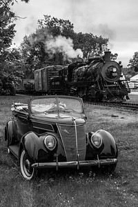 Freight and a Ford A Valley Railroad photo freight pauses at Chester, CT with an antique Ford convertable as a part of the Lerro Productions Photo Charter.