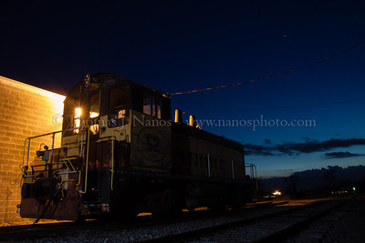 ESPN in the Blue Hour Took a ride out to Topton, PA to shoot the Eastern Penn power.  The only thing around was a former PBNE switcher sitting outside the shops.