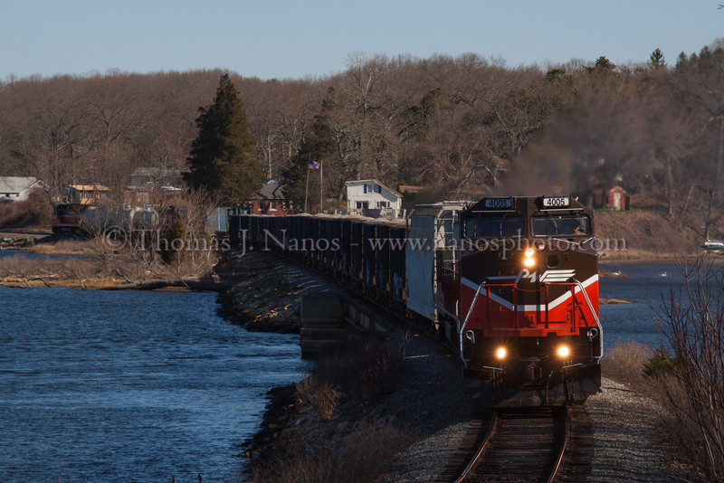 Train In Two Towns With the head end of P&W NR-2 in Ledyard, and its tail end, along with NR-3 in Preston, the combined jobs continue south along the Thames River and Poquetanuck Cove.