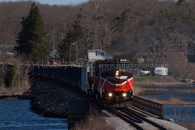 Into Ledyard Providence & Worcester trains NR-2 and NR-3 cross into Ledyard, CT as they cross over the inlet to Poquetanuck Cove