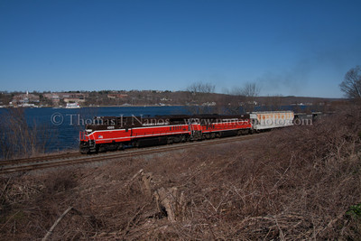 NR-2 at Fairview Providence & Worcester train NR-2, now by itself after dropping NR-3 off at the Dow Chemical plant at Allyns Point, heads south along the Thames River in Groton, CT