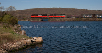 Over the Inlet Providence & Worcester train NR-2 crosses over the inlet to Mill Cove in Gales Ferry, CT