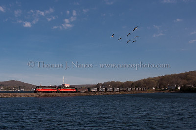 NR-2 and a flyover A group of geese fly overhead as NR-2 heads south along Mill Cove in Gales Ferry, CT