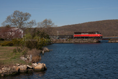 South End The tail end of P&W NR-2 crosses over the inlet to Mill Cove in Gales Ferry, CT