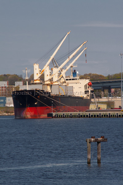 Bow-on view of the Bright Laker Unloading at State Pier in New London