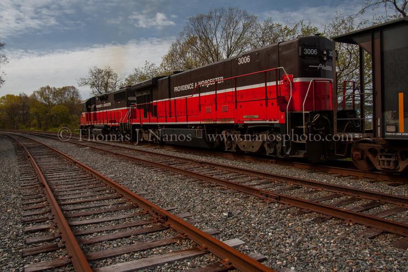 Through Fairview P&W NR-2 pulls south through Fairview Yard in Groton, CT