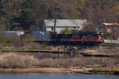 NR-2 in Preston Providence & Worcester train NR-2 heads south along the Thames River in Preston, CT