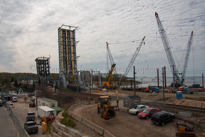 NAN Progress A view of the construction site around Amtrak's Niantic River drawbridge replacement project.