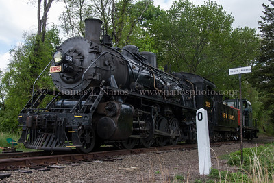 South facing Valley Railroad No 3025 passes by milepost 0 on the Valley Railroad, entering VALE property