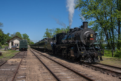 Tying On Valley Railroad No 3025 reverses to tie onto their train at Deep River Landing, preparing for the trip back south to Essex