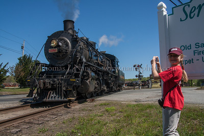 A happy girl My daughter Callie gets video of Valley Railroad No 3025 as they prepare to shove back
