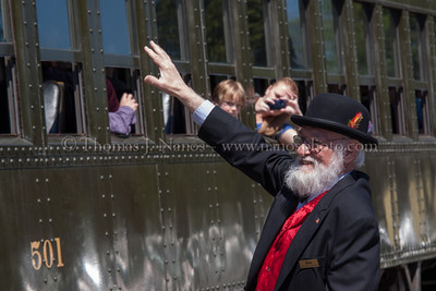 Waving to the passengers Valley Railroad President Bob Bell waves to the passengers riding the first train of the 2012 season, and celebrating National Train Day