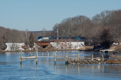 Speeding by the Cove A westbound Amtrak Acela races past Jordan Cove in Waterford, CT