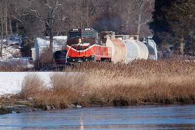 Train in the Weeds Providence & Worcester train NR-2 appears near milepost 8 in Preston, CT on a cold morning.