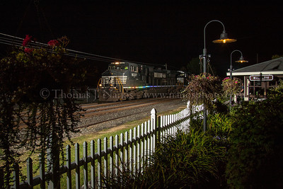 Norfolk Southern train 35Q passes by the pavilion and garden at Macungie, PA