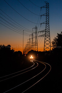 An eastbound Norfolk Southern freight passes through Bound Brook, NJ just after sunset.