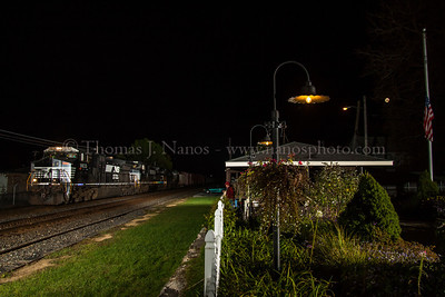 Norfolk Southern train 35Q passes by the Paviolion and garden at Macungie, PA
