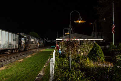 A late Norfolk Southern train 262 passes by the pavilion at Macungie, PA