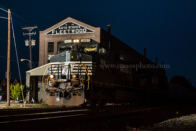 Norfolk Southern train 261 passes by the former Fleetwood (Cadillac) body plant in Fleetwood, PA