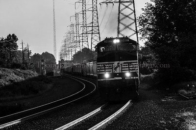 An eastbound Norfolk Southern freight passes through Bound Brook, NJ
