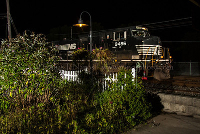 Norfolk Southern train 39G passes by the garden at Macungie, PA