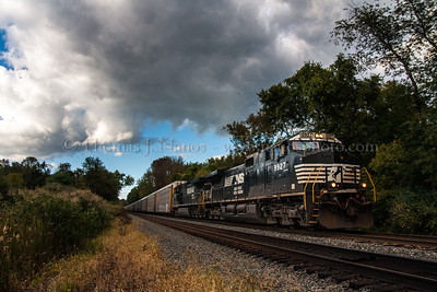 Norfolk Southern train 18N (loaded autoracks) pulls into the controlled siding in Flemington, NJ.