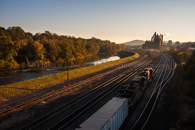 Norfolk Southern train 262 pulls into Bethlehem, PA a little bit after sunrise on a crisp and colorful fall morning.  October 25, 2013