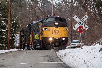 Grafton & Upton Railroad train GU1 crosses over Carroll Street in Grafton, MA