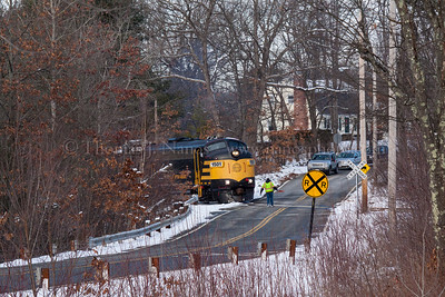 Grafton & Upton Railroad train GU-1 crosses Snow Street in North Grafton, MA