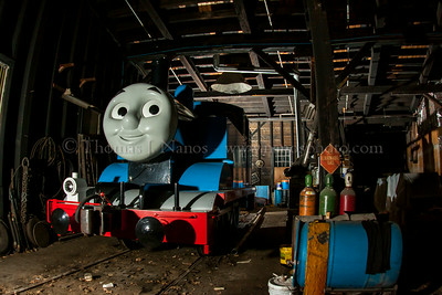 The weekend after I visited the Conway Scenic Railroad, Thomas the Tank Engine would be visiting the folks of New Hampshire.  Here he is resting in the Conway Scenic roundhouse.