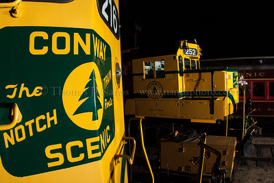 Had an impromptu night shoot on the Conway Scenic Railroad.  One shot of the pair of MEC inspiried geeps in North Conway, NH