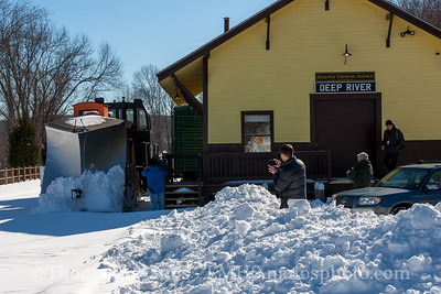 The Plow Extra slows down at Deep River station as some members of the press cover the move.  On had was a photojournalist from the Hartford Courant, as well as WFSB Channel 3 anchor Mark Zinni and his cameraman.