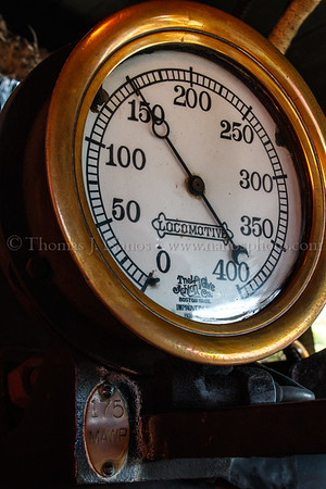 The boiler steam gauge is showing about 150 pounds per square inch of pressure - well under the Maxium Allowed Working Pressure of 175 PSI