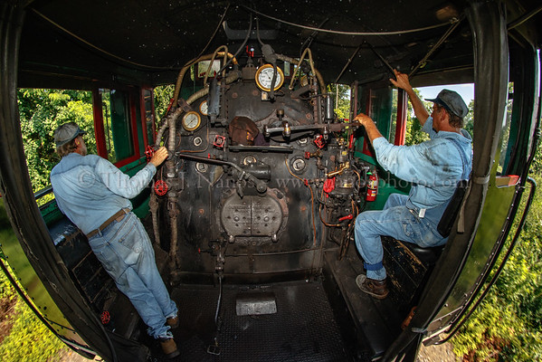 A wide view of the entire cab of No. 40 as the train proceeds north